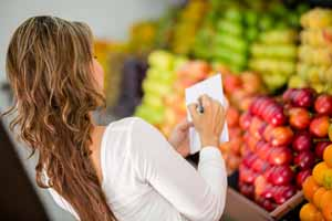 woman with a grocery list
