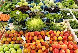 fruits and veggies on sale