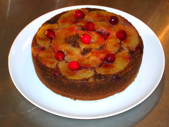 Upside Down Apple Cranberry Cake